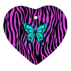 Zebra Stripes Black Pink   Butterfly Turquoise Heart Ornament (two Sides) by EDDArt