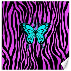 Zebra Stripes Black Pink   Butterfly Turquoise Canvas 12  X 12   by EDDArt
