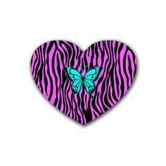 Zebra Stripes Black Pink   Butterfly Turquoise Rubber Coaster (heart)