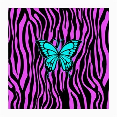 Zebra Stripes Black Pink   Butterfly Turquoise Medium Glasses Cloth by EDDArt