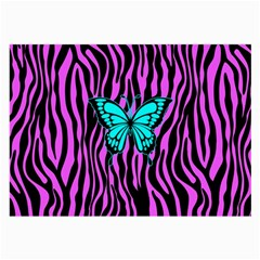 Zebra Stripes Black Pink   Butterfly Turquoise Large Glasses Cloth by EDDArt