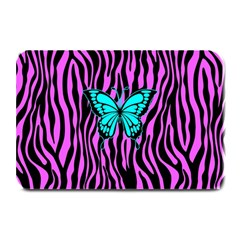 Zebra Stripes Black Pink   Butterfly Turquoise Plate Mats by EDDArt