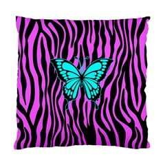 Zebra Stripes Black Pink   Butterfly Turquoise Standard Cushion Case (one Side) by EDDArt