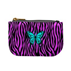 Zebra Stripes Black Pink   Butterfly Turquoise Mini Coin Purses by EDDArt