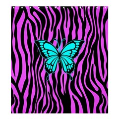 Zebra Stripes Black Pink   Butterfly Turquoise Shower Curtain 66  X 72  (large)  by EDDArt