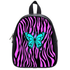 Zebra Stripes Black Pink   Butterfly Turquoise School Bags (small)  by EDDArt
