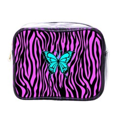 Zebra Stripes Black Pink   Butterfly Turquoise Mini Toiletries Bags by EDDArt