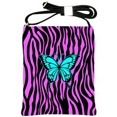 Zebra Stripes Black Pink   Butterfly Turquoise Shoulder Sling Bags by EDDArt