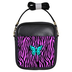 Zebra Stripes Black Pink   Butterfly Turquoise Girls Sling Bags by EDDArt