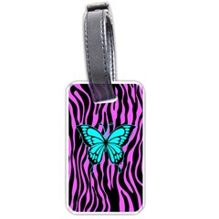 Zebra Stripes Black Pink   Butterfly Turquoise Luggage Tags (two Sides) by EDDArt
