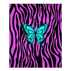 Zebra Stripes Black Pink   Butterfly Turquoise Shower Curtain 60  X 72  (medium)  by EDDArt