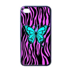 Zebra Stripes Black Pink   Butterfly Turquoise Apple Iphone 4 Case (black) by EDDArt