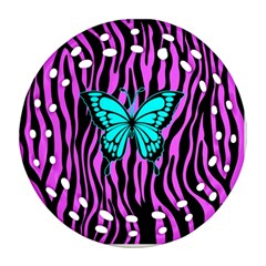 Zebra Stripes Black Pink   Butterfly Turquoise Ornament (round Filigree) by EDDArt