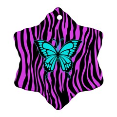 Zebra Stripes Black Pink   Butterfly Turquoise Ornament (snowflake) by EDDArt