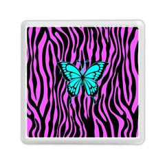 Zebra Stripes Black Pink   Butterfly Turquoise Memory Card Reader (square)  by EDDArt