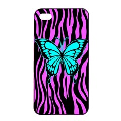 Zebra Stripes Black Pink   Butterfly Turquoise Apple Iphone 4/4s Seamless Case (black) by EDDArt