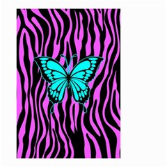 Zebra Stripes Black Pink   Butterfly Turquoise Small Garden Flag (two Sides) by EDDArt