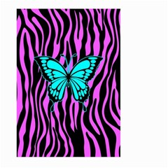 Zebra Stripes Black Pink   Butterfly Turquoise Large Garden Flag (two Sides) by EDDArt
