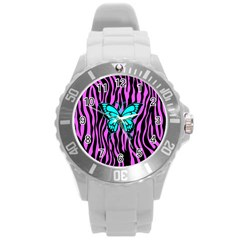 Zebra Stripes Black Pink   Butterfly Turquoise Round Plastic Sport Watch (l) by EDDArt