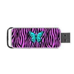 Zebra Stripes Black Pink   Butterfly Turquoise Portable Usb Flash (two Sides) by EDDArt