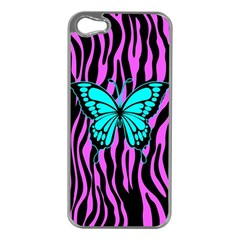 Zebra Stripes Black Pink   Butterfly Turquoise Apple Iphone 5 Case (silver) by EDDArt
