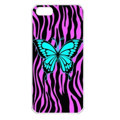 Zebra Stripes Black Pink   Butterfly Turquoise Apple Iphone 5 Seamless Case (white) by EDDArt