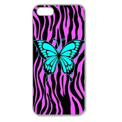 Zebra Stripes Black Pink   Butterfly Turquoise Apple Seamless Iphone 5 Case (clear) by EDDArt