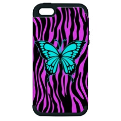 Zebra Stripes Black Pink   Butterfly Turquoise Apple Iphone 5 Hardshell Case (pc+silicone) by EDDArt