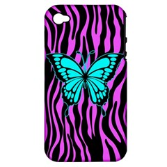 Zebra Stripes Black Pink   Butterfly Turquoise Apple Iphone 4/4s Hardshell Case (pc+silicone) by EDDArt