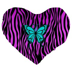 Zebra Stripes Black Pink   Butterfly Turquoise Large 19  Premium Heart Shape Cushions by EDDArt