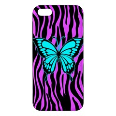 Zebra Stripes Black Pink   Butterfly Turquoise Apple Iphone 5 Premium Hardshell Case by EDDArt