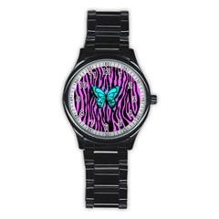 Zebra Stripes Black Pink   Butterfly Turquoise Stainless Steel Round Watch by EDDArt