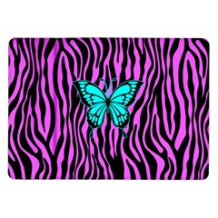 Zebra Stripes Black Pink   Butterfly Turquoise Samsung Galaxy Tab 10 1  P7500 Flip Case by EDDArt