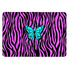 Zebra Stripes Black Pink   Butterfly Turquoise Samsung Galaxy Tab 8 9  P7300 Flip Case by EDDArt