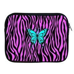 Zebra Stripes Black Pink   Butterfly Turquoise Apple Ipad 2/3/4 Zipper Cases by EDDArt