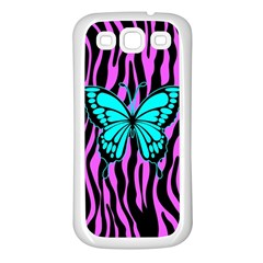 Zebra Stripes Black Pink   Butterfly Turquoise Samsung Galaxy S3 Back Case (white) by EDDArt