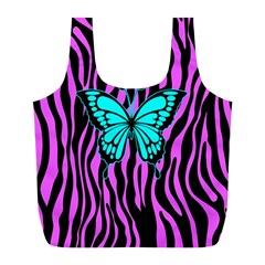 Zebra Stripes Black Pink   Butterfly Turquoise Full Print Recycle Bags (l)  by EDDArt