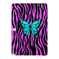 Zebra Stripes Black Pink   Butterfly Turquoise Samsung Galaxy Tab Pro 10 1 Hardshell Case by EDDArt