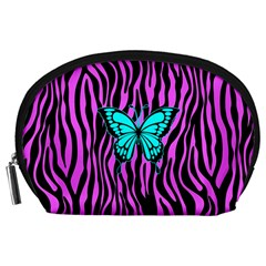 Zebra Stripes Black Pink   Butterfly Turquoise Accessory Pouches (large)  by EDDArt