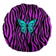 Zebra Stripes Black Pink   Butterfly Turquoise Large 18  Premium Flano Round Cushions by EDDArt