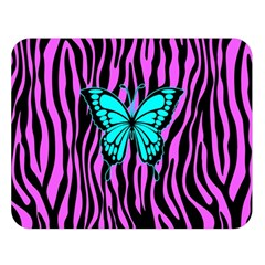 Zebra Stripes Black Pink   Butterfly Turquoise Double Sided Flano Blanket (large)  by EDDArt