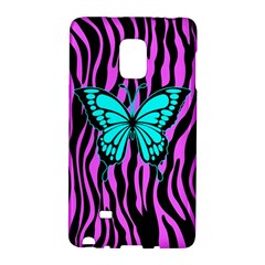 Zebra Stripes Black Pink   Butterfly Turquoise Galaxy Note Edge by EDDArt