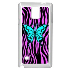 Zebra Stripes Black Pink   Butterfly Turquoise Samsung Galaxy Note 4 Case (white) by EDDArt