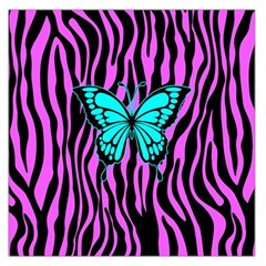 Zebra Stripes Black Pink   Butterfly Turquoise Large Satin Scarf (square) by EDDArt