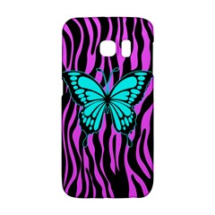 Zebra Stripes Black Pink   Butterfly Turquoise Galaxy S6 Edge by EDDArt