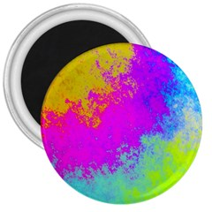 Grunge Radial Gradients Red Yellow Pink Cyan Green 3  Magnets by EDDArt
