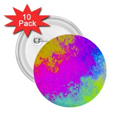 Grunge Radial Gradients Red Yellow Pink Cyan Green 2 25  Buttons (10 Pack)  by EDDArt