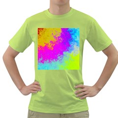 Grunge Radial Gradients Red Yellow Pink Cyan Green Green T Shirt by EDDArt