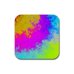 Grunge Radial Gradients Red Yellow Pink Cyan Green Rubber Coaster (square)  by EDDArt