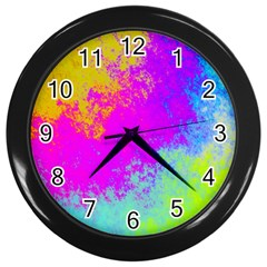 Grunge Radial Gradients Red Yellow Pink Cyan Green Wall Clocks (black) by EDDArt